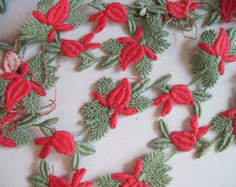 darling vintage rosebud trim coral and minty sage green 2 yards