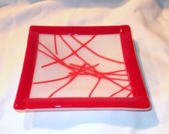 Glass Dish, Red and White Fused Glass, Handmade Home and Living, Home Decor, Room Decor, Decorative Dish, Square 5 inch by 5 inch Dish