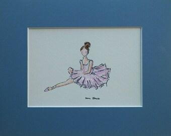 Ballerina Pink Tutu Dress Watercolor Childrens Fashion Kids Art Original Painting by California Artist debra alouise