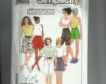 Simplicity Misses' Full, Slim and Cuffed Shorts, Each in Two Lengths Pattern 9672
