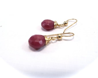 Faceted Ruby Gold filled Gemstone Drop Earrings July Birthstone