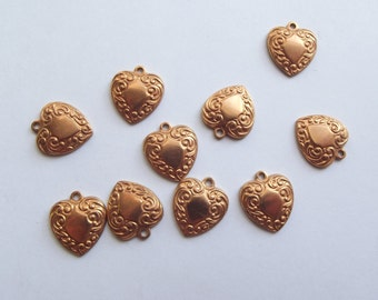 Vintage copper brass heart charms