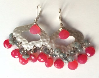 Fuchsia chalcedony chandeliers
