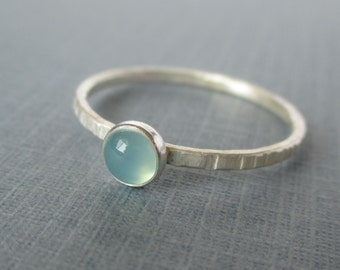 Blue Chalcedony Ring - Dainty Sterling and Fine Silver Stacker -  Mothers Stacking Rings - Rustic
