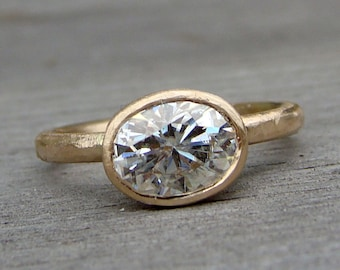 Oval Moissanite Ring in Recycled 14k Yellow Gold - Forever One G-H-I, Engagement / Wedding Ring, Matte/Textured, Eco-Friendly, Made to Order