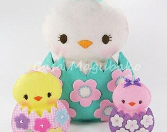 PDF Pattern - Chicken in an Eggshell Felt Pattern - Sewing Pattern - Felt Chicken Embellishment, Ornament or Soft Toy - Instant Download