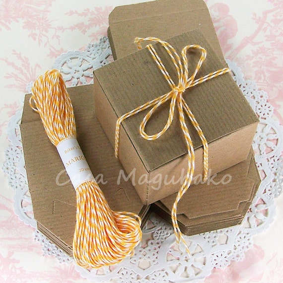 "Gift Box Packaging Set DIY - 10 Kraft Boxes (3""x3""x2"") & 20 Yards of Baker's Twine - You Choose Color"