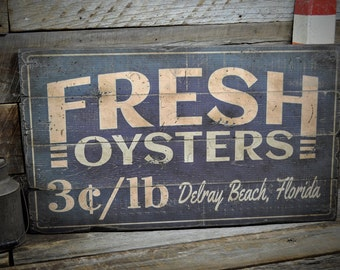 Oysters Sign, Fresh Oyster Sign, Rustic Oyster Sign, Wood Seafood Sign, Oyster Bar Sign - Rustic Hand Made Vintage Wooden Sign ENS1000439