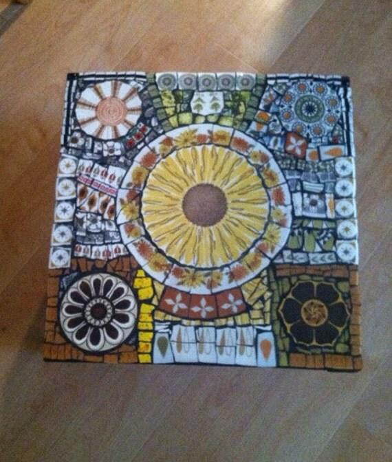 Mosaic Tile Retro Atomic Vintage Wood Table Art Broken Plate
