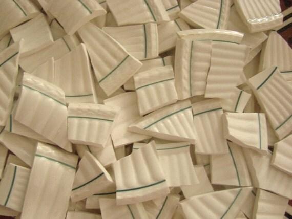 Mosaic Tiles Vintage Mixed Patterns Textured Solid Plate Pieces White 300 Pieces Stripe Floral Porcelain Mix