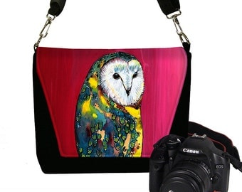 Clara Nilles DSLR Camera Bag for Women Camera Bag Purse Cute Owl Zipper Padded  -  Deluxe Barn Owl cute pink RTS