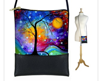 MadArt Winter Sparkle Sling bag, mini crossbody bag, small shoulder purse, iPhone 6 Plus Case, tree moon blue purple RTS