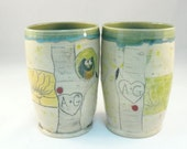 Set of two personalized couples ceramic tumblers - MADE TO ORDER - names carved into tree trunks - Colorado pottery vase, toothbrush holders