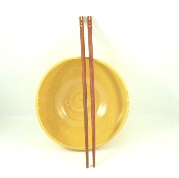 Yellow Noodle Bowl with hand-crafted Rosewood Chopsticks  Rice Bowl in Yellow - chopstick bowl - pho noodles