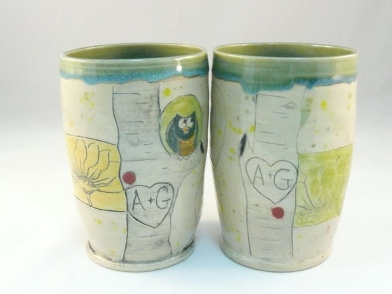 Pottery Wedding Gifts: Two Personalized Cups Pottery Vases Couples Wedding Gift