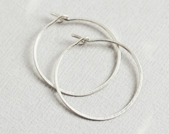 Lisse Hoops - small hammered satin finish sterling silver hoop earrings