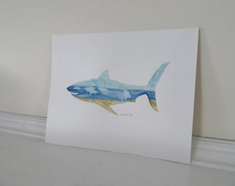 Great White Shark Print, Shark Print, Beach Cottage Decor, Shark Painting, Shark Watercolor, Beach Art, Shark Illustration, Archival 8 x 10