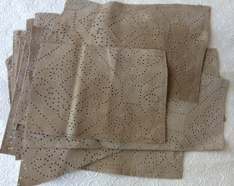 15 pieces beige hole punched suede