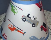 ON SALE BRODY Boys Transportation Cars and Trucks Vehicles Lamp Shade with Pottery Barn Kids fabric, Any Color Trim, 4 Sizes