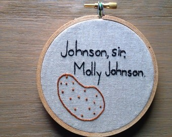 """Hand Embroidered, Canadian Heritage Minute, """"Molly Johnson"""""""