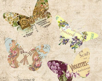 PRINTABLE DIGITAL BUTTERFLY Tags Ephemera Labels Tags Scrapbooking Journals Cards Altered Art Paper Crafts