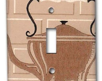 Vintage Kitchen Single Switch plate with Tea Kettle on Beige Tile Background