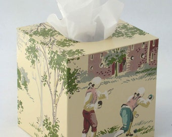 Dangerous Liaisons and Lawn Bowling Sport of Kings Colonial Powdered Wigs Tissue Box Cover