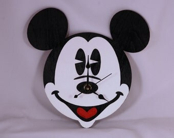 Laser Cut Hand Made & Hand Painted Wood Mickey Mouse Face Clock