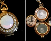 Vintage Coro Locket Necklace - Moonglow and Pearls