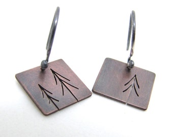 Tiny Copper Three Pine Trees Tree Art earrings - made to order