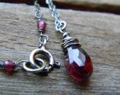 merlot - simple garnet necklace - oxidized silver