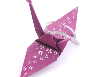 Silver Cherry Blossoms on Mulberry Handpainted Origami Crane Ornament Plum Home Decor