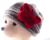 Hand Knit Grey Baby Hat with butterfly embellishment 12 - 18 months