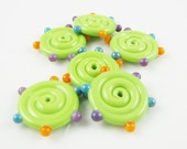 Green Dotted Lampwork Glass Disc Beads (6)