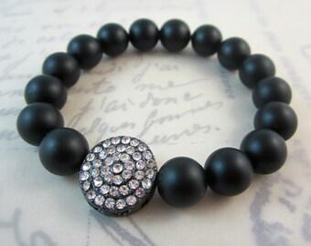 Black Onyx Stretch Bracelet.  Gunmetal Rhinestone Bead.  Holiday Jewelry.  Gifts for Her.