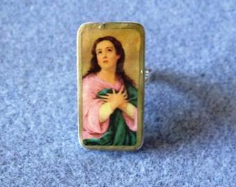 Virgin Mary Assumption Catholic Recycled Mini Domino Ring Adjustable V3