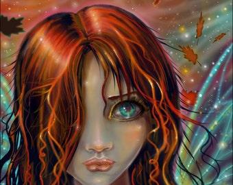 Magic of Autumn - Fairy Fantasy Art Giclee Print - From my Original Digital Painting - Fairies