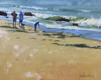 Seaside Pedestrians - Original Oil Painting of People at the Beach - California Beach Painting - Seascape Painting