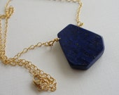 Navy Blue Lapis Lazuli Pendant Gold Filled Chain Necklace