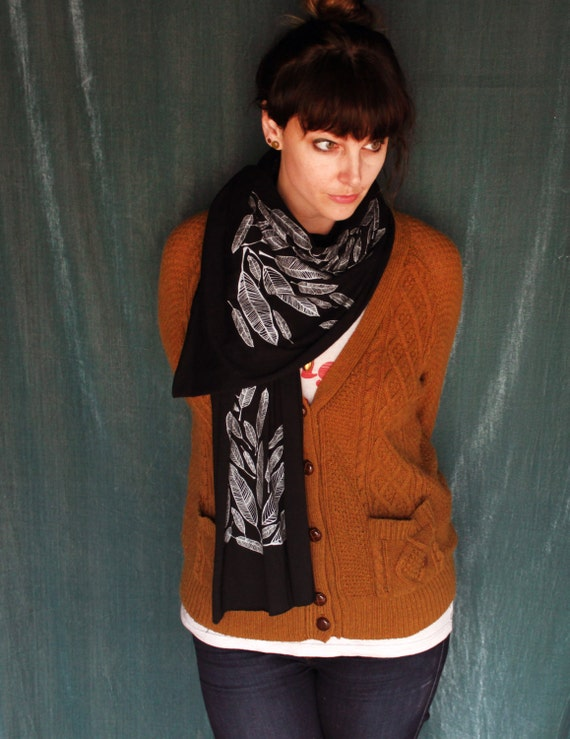 Screen Printed Jersey Scarf-black with silver feathers
