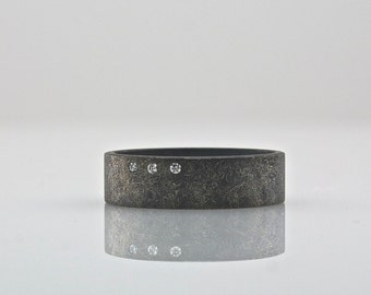 Three Diamond Ring - Wide Band - Men's or Women's  - Oxidized Sterling Silver Rough Finish - Reclaimed Eco Friendly