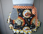 Womens Halloween Aprons - Full MoonAprons - Aprons with Ghost's - Halloween Party Aprons - Bat Aprons - Etsy Aprons - Annies Attic Aprons