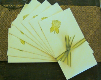 ENVELOPES / Handstamped with Green Hydrangea Flower / Set of 10  - Fits 3 x 5