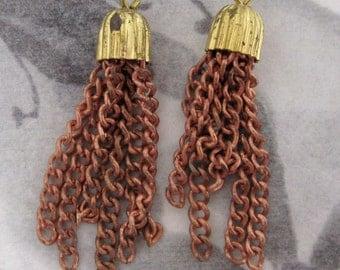 6 pcs. vintage small brass & copper coated tassels 28mm long - f4236