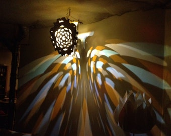 Pine Cone Mandala hexabase wood cut lantern