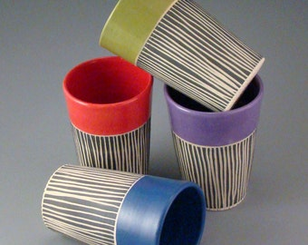 Set of 4 Sgraffito Juice Cups