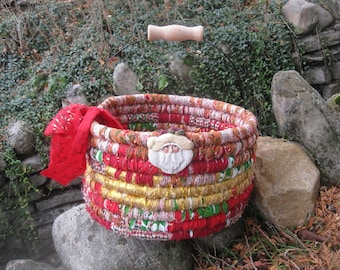 BELIEVE textile art BASKET bucket tub  with Santa