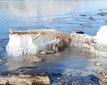Winter's Chadelier, Lakeshore Ice, Winter's art, Gems of Ice, Magical art, Photograph or Greeting card