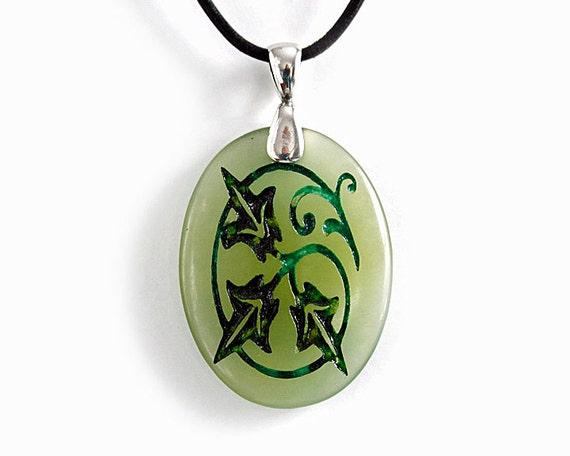 Curly Swirly Vine Botanical Necklace - Engraved Stone Pendant