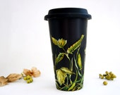 Black Ceramic Travel Mug with Lid - Fields of Grass Collection